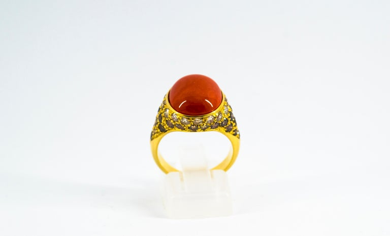 Renaissance Mediterranean Red Coral 2.20 Carat White Brown Diamond Yellow Gold Cocktail Ring For Sale
