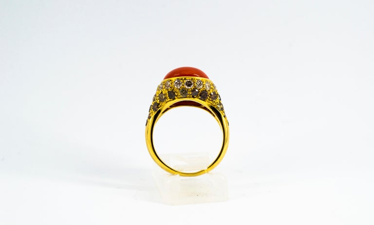 Women's or Men's Mediterranean Red Coral 2.20 Carat White Brown Diamond Yellow Gold Cocktail Ring For Sale