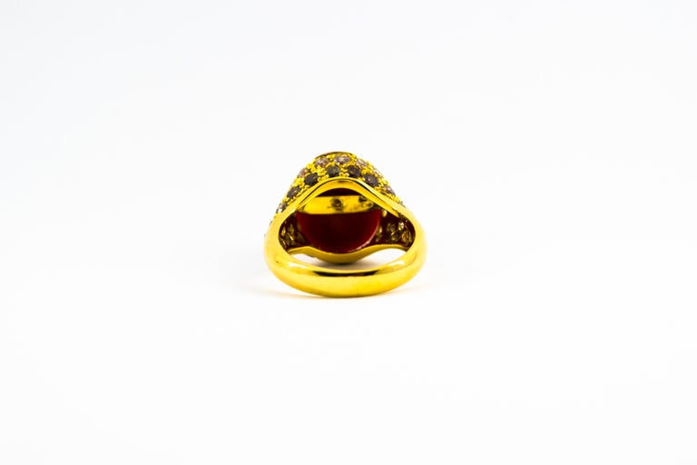 Mediterranean Red Coral 2.20 Carat White Brown Diamond Yellow Gold Cocktail Ring For Sale 3