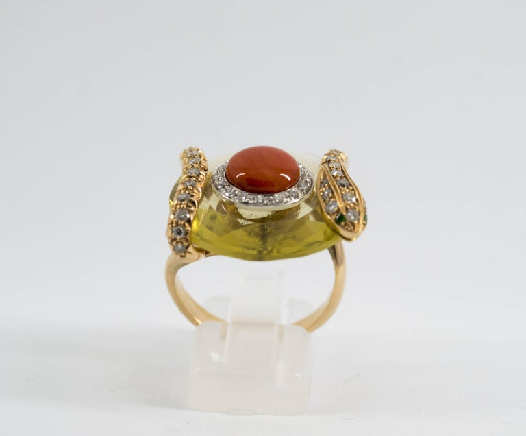 Art Nouveau Mediterranean Red Coral 9.62 Carat Diamond Citrine Yellow Gold Cocktail Ring For Sale