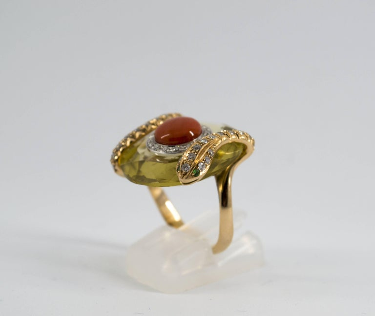 Mediterranean Red Coral 9.62 Carat Diamond Citrine Yellow Gold Cocktail Ring In New Condition For Sale In Naples, IT