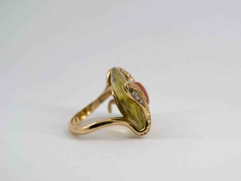 Mediterranean Red Coral 9.62 Carat Diamond Citrine Yellow Gold Cocktail Ring For Sale 2
