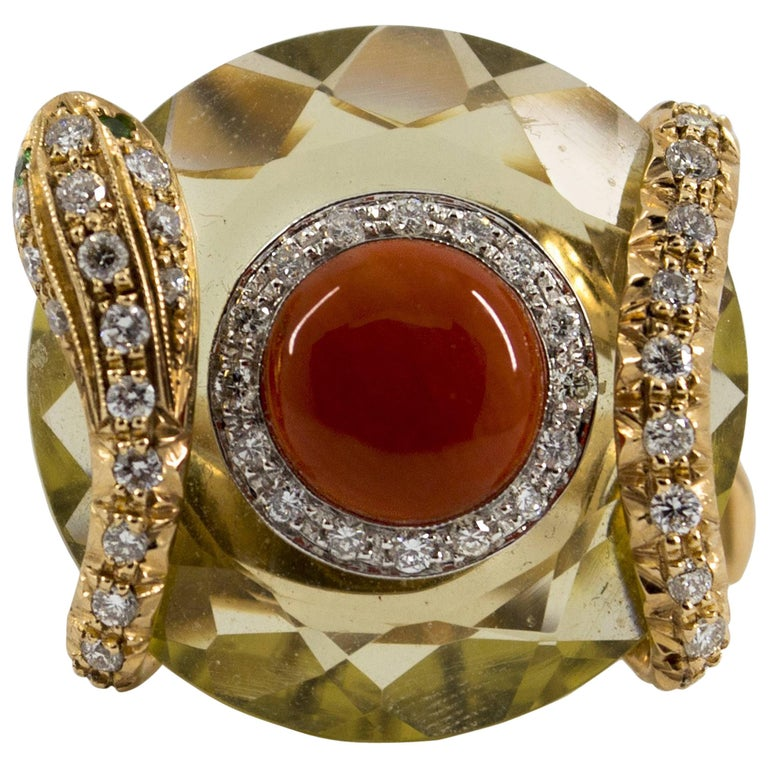 Mediterranean Red Coral 9.62 Carat Diamond Citrine Yellow Gold Cocktail Ring For Sale