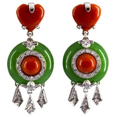 Mediterranean Red Coral Jade 0.30 Carat White Diamond White Gold Stud Earrings