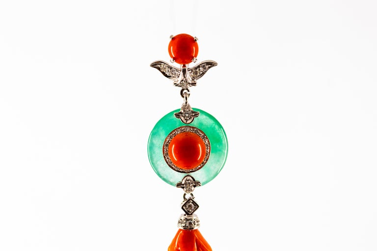 Mediterranean Red Coral Jade 0.32 Carat White Diamond White Gold Pendant In New Condition For Sale In Naples, IT