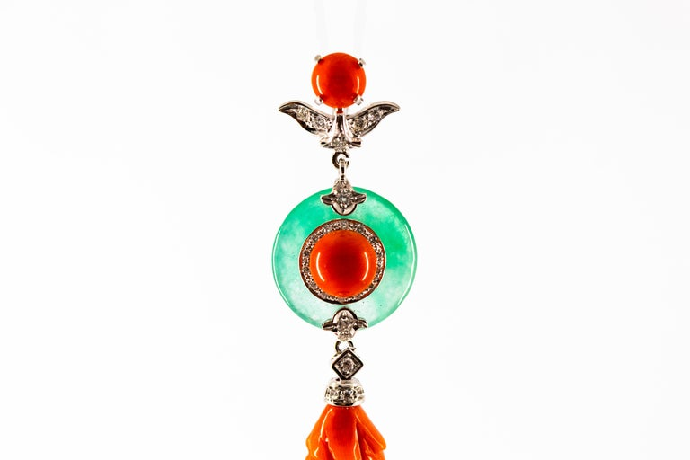 Mediterranean Red Coral Jade 0.32 Carat White Diamond White Gold Pendant For Sale 1