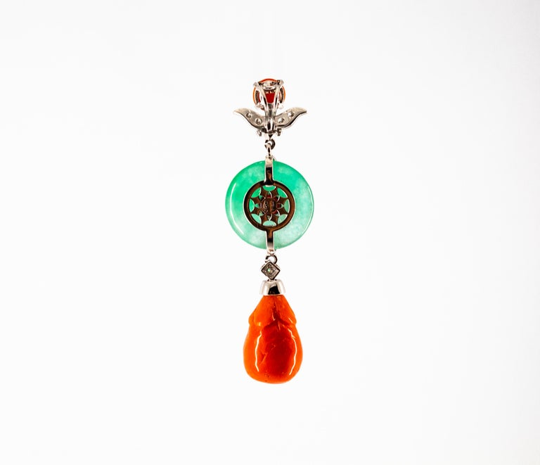 Mediterranean Red Coral Jade 0.32 Carat White Diamond White Gold Pendant For Sale 3