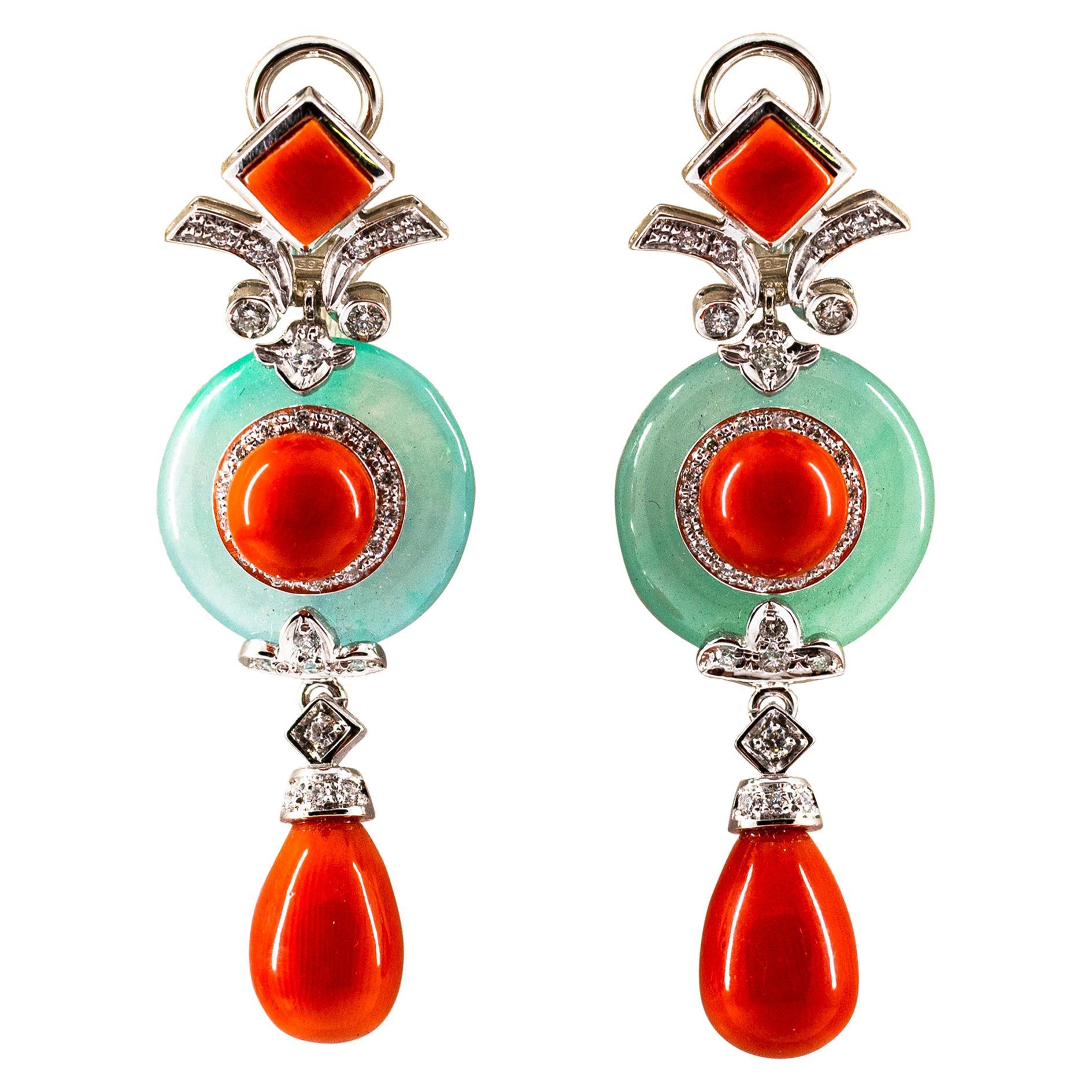 Mediterranean Red Coral Jade 0.60 Carat White Diamond White Gold Drop Earrings