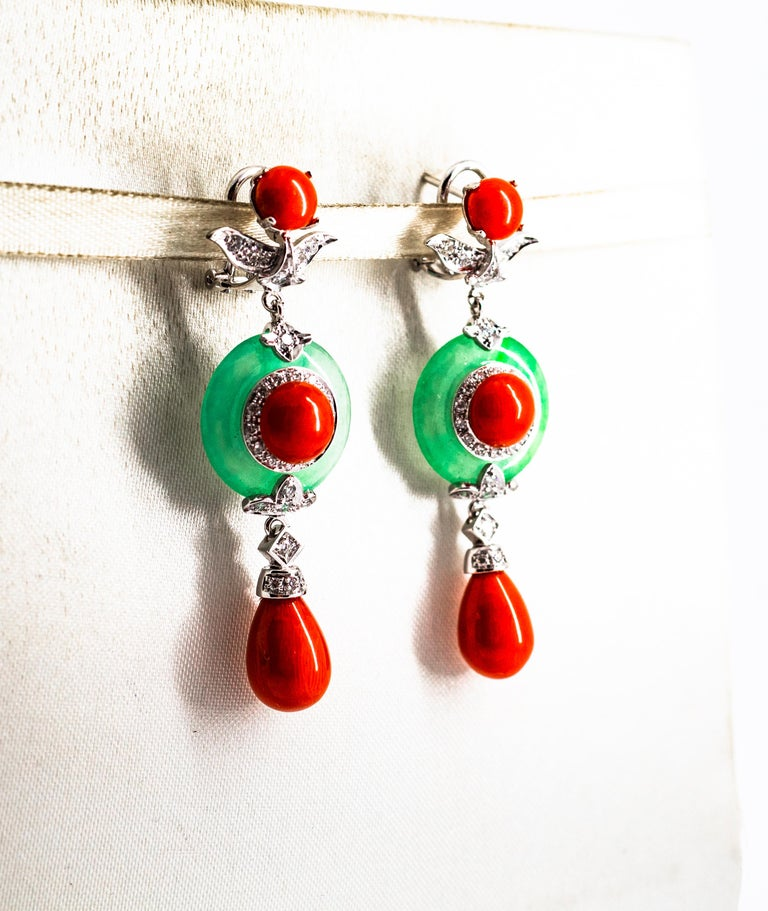 Art Deco Mediterranean Red Coral Jade 0.65 Carat White Diamond White Gold Drop Earrings For Sale