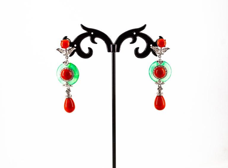 Women's or Men's Mediterranean Red Coral Jade 0.65 Carat White Diamond White Gold Drop Earrings For Sale