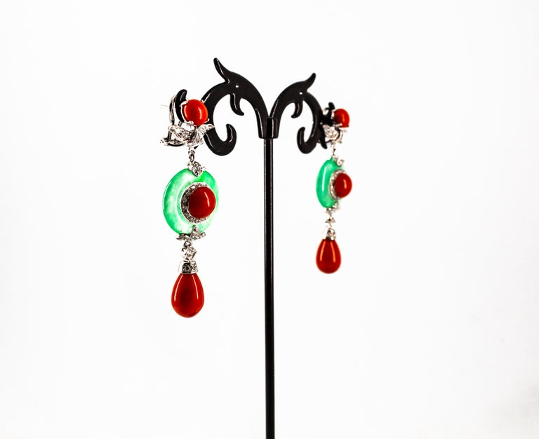 Mediterranean Red Coral Jade 0.65 Carat White Diamond White Gold Drop Earrings For Sale 1