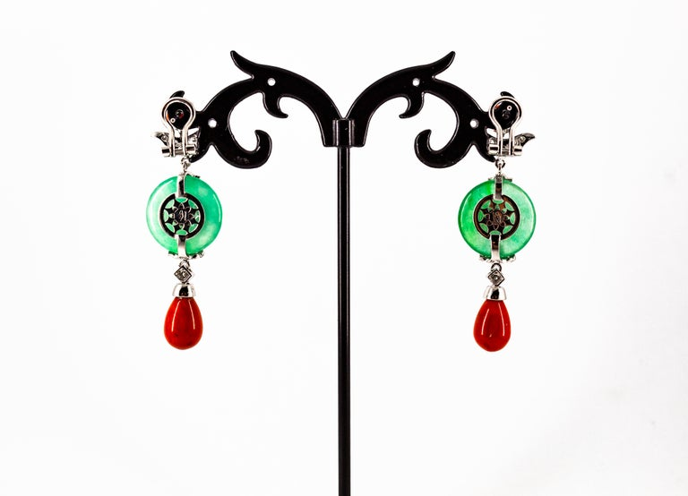 Mediterranean Red Coral Jade 0.65 Carat White Diamond White Gold Drop Earrings For Sale 2