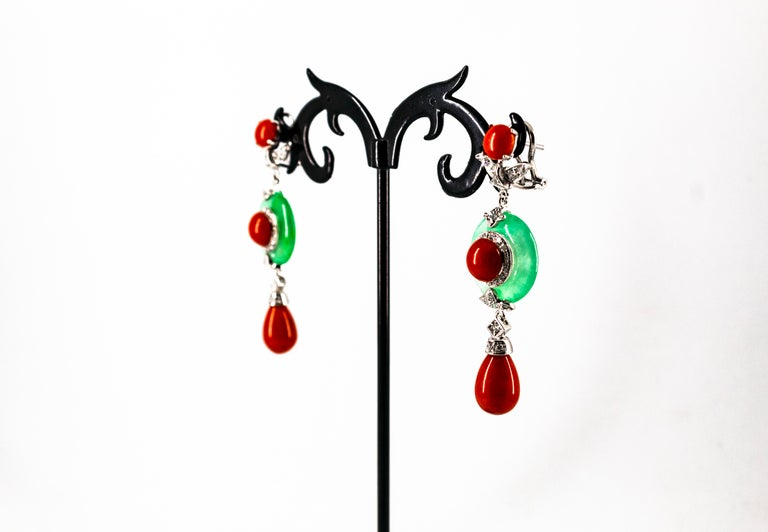 Mediterranean Red Coral Jade 0.65 Carat White Diamond White Gold Drop Earrings For Sale 3