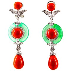 Mediterranean Red Coral Jade 0.65 Carat White Diamond White Gold Drop Earrings