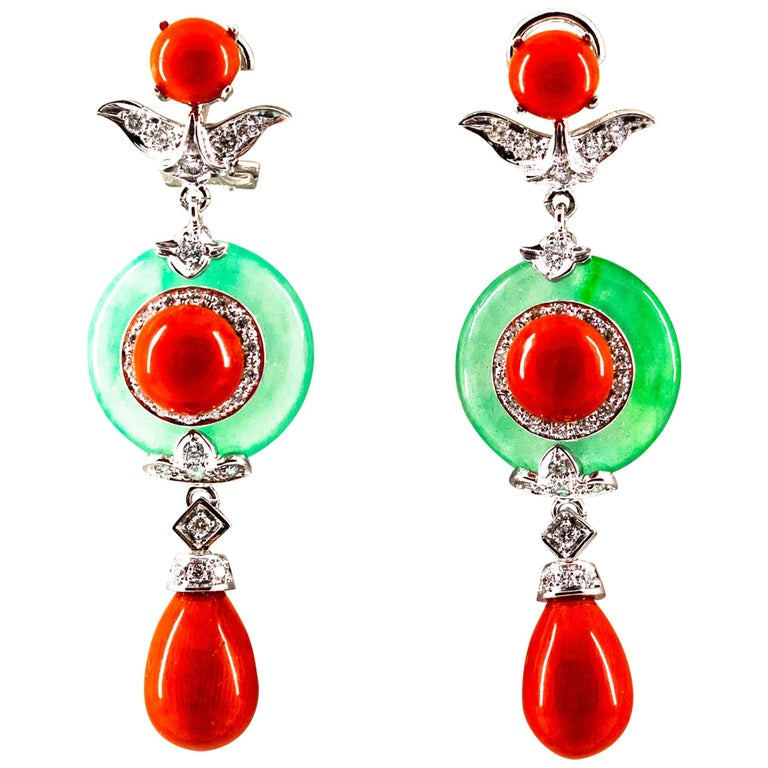 Mediterranean Red Coral Jade 0.65 Carat White Diamond White Gold Drop Earrings For Sale