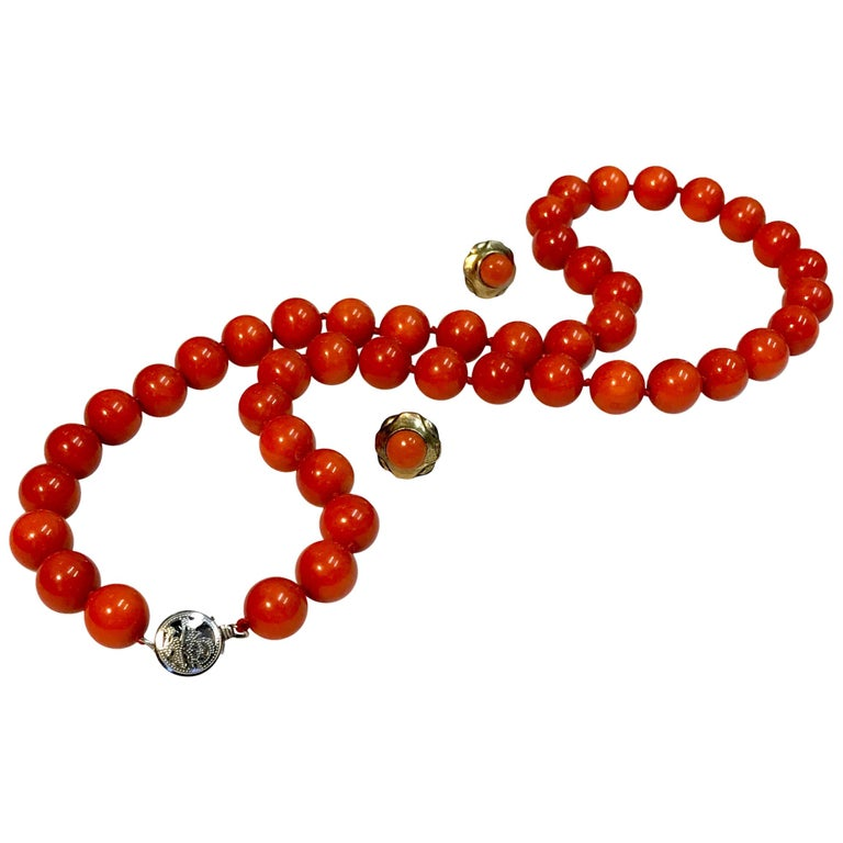 Pre-appraised Mediterranean Red Coral Necklace & Matching Earrings Set in 14k For Sale