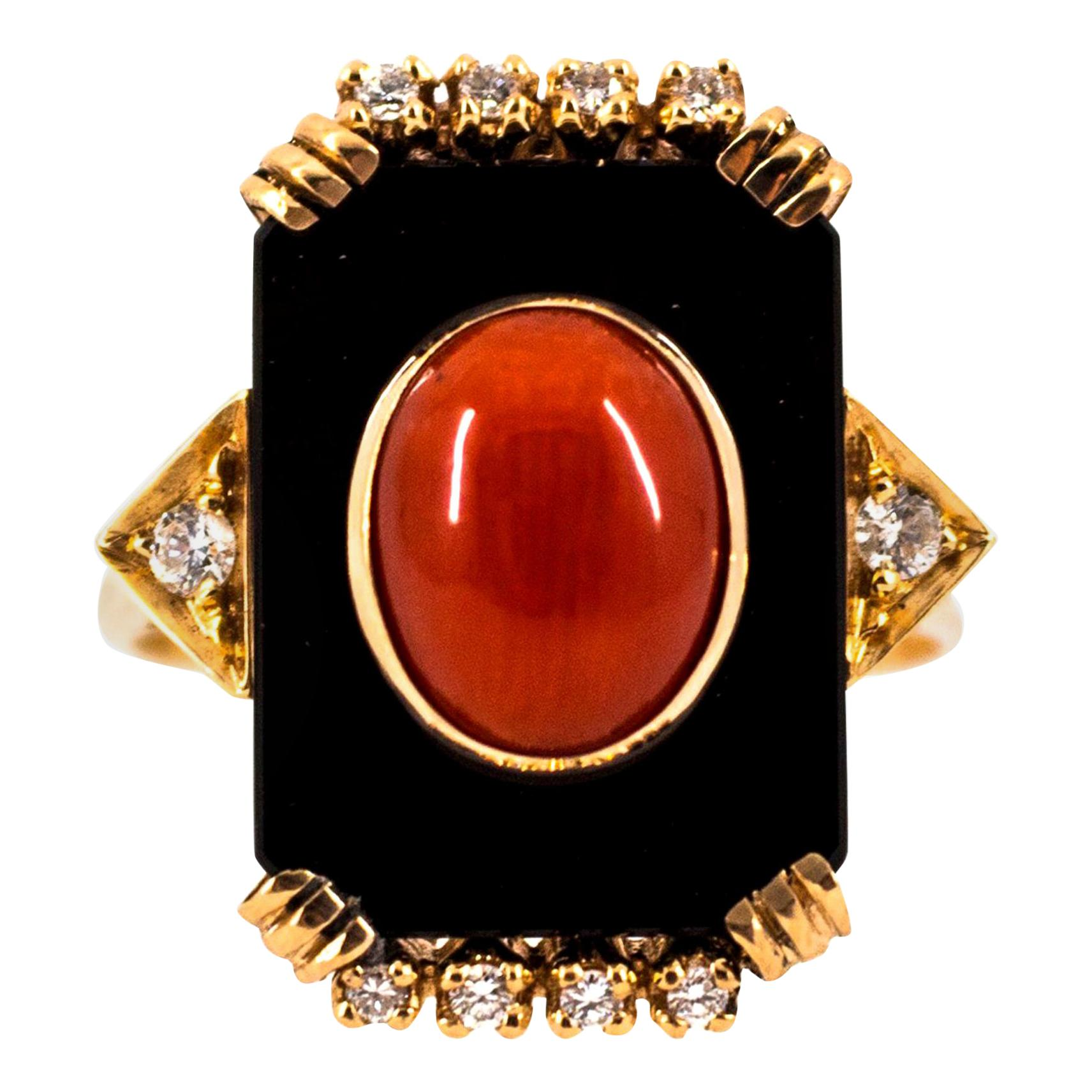 Mediterranean Red Coral Onyx 0.18 Carat White Diamond Yellow Gold Cocktail Ring