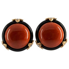 Mediterranean Red Coral Onyx 0.24 Carat Diamond Yellow Gold Clip-On Earrings