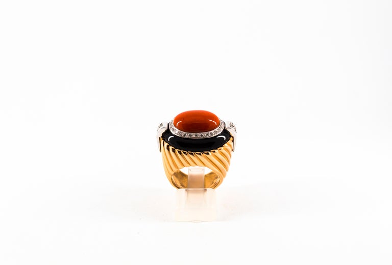 Art Deco Mediterranean Red Coral Onyx 0.40 Carat White Diamond Yellow Gold Cocktail Ring For Sale