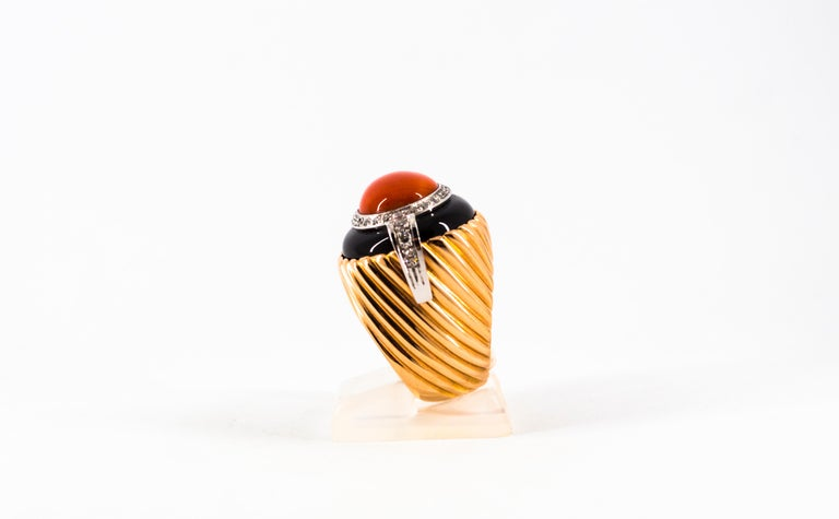 Women's or Men's Mediterranean Red Coral Onyx 0.40 Carat White Diamond Yellow Gold Cocktail Ring For Sale