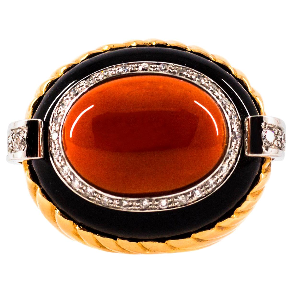 Mediterranean Red Coral Onyx 0.40 Carat White Diamond Yellow Gold Cocktail Ring