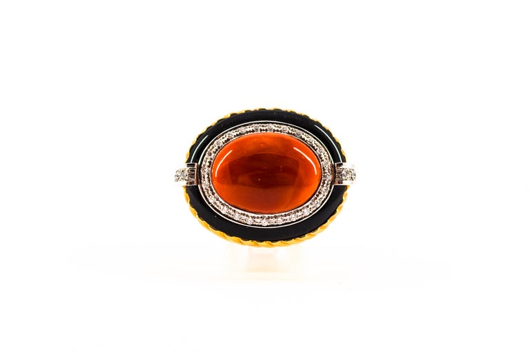 Mediterranean Red Coral Onyx 0.50 Carat White Diamond Yellow Gold Cocktail Ring For Sale 6