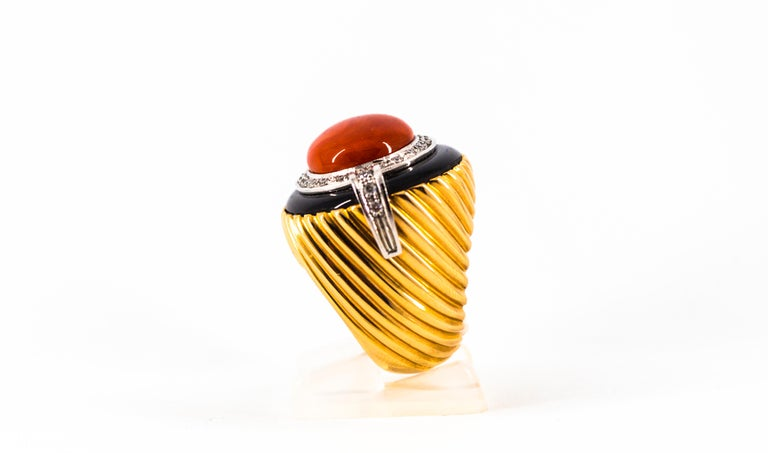 Women's or Men's Mediterranean Red Coral Onyx 0.50 Carat White Diamond Yellow Gold Cocktail Ring For Sale