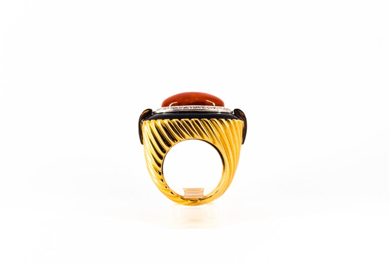 Mediterranean Red Coral Onyx 0.50 Carat White Diamond Yellow Gold Cocktail Ring For Sale 3