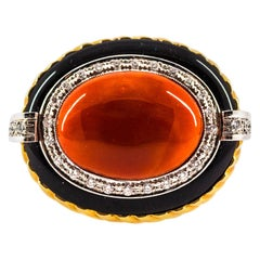 Mediterranean Red Coral Onyx 0.50 Carat White Diamond Yellow Gold Cocktail Ring