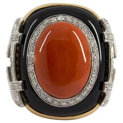 Mediterranean Red Coral Onyx 1.0 Carat Diamond Yellow Gold Cocktail Ring