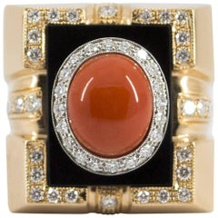 Mediterranean Red Coral Onyx  Diamond Yellow Gold Cocktail Ring