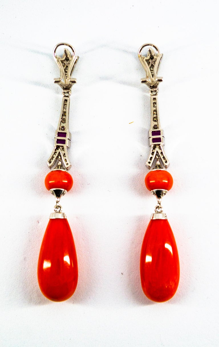 Mediterranean Red Coral White Diamond Amethyst White Gold Eiffel Tower Earrings For Sale 6