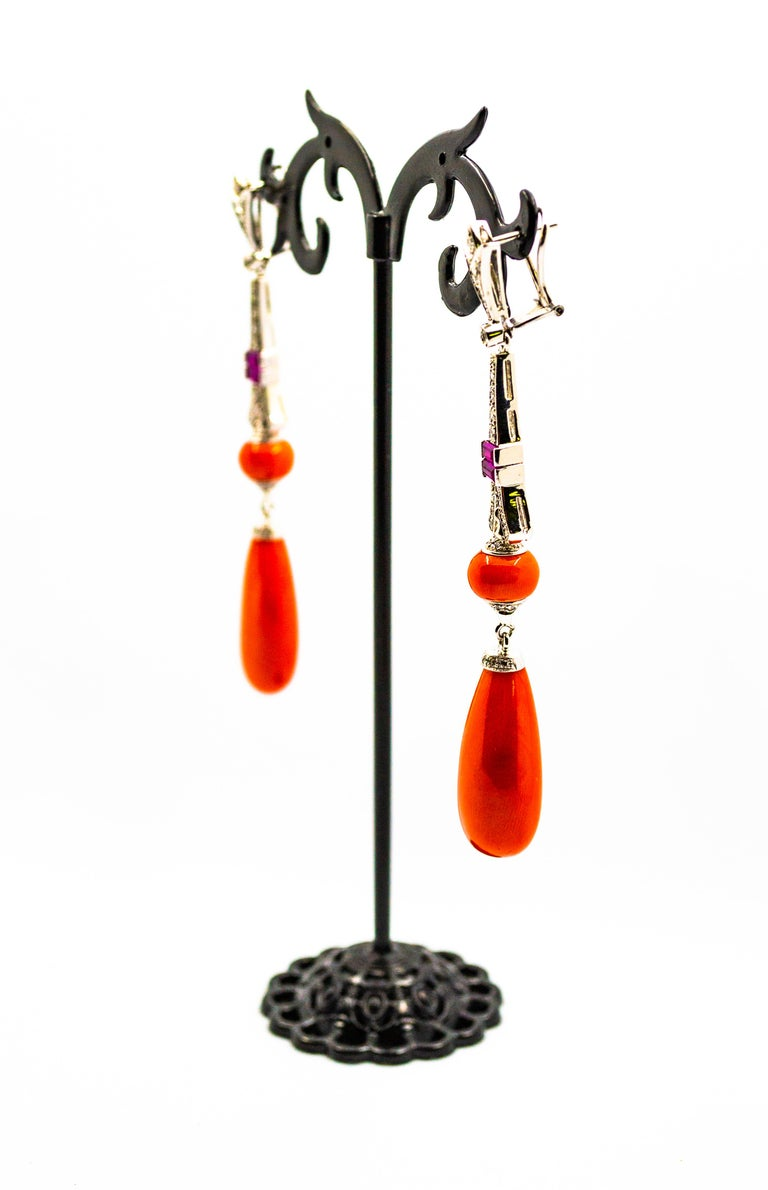 Art Deco Mediterranean Red Coral White Diamond Amethyst White Gold Eiffel Tower Earrings For Sale