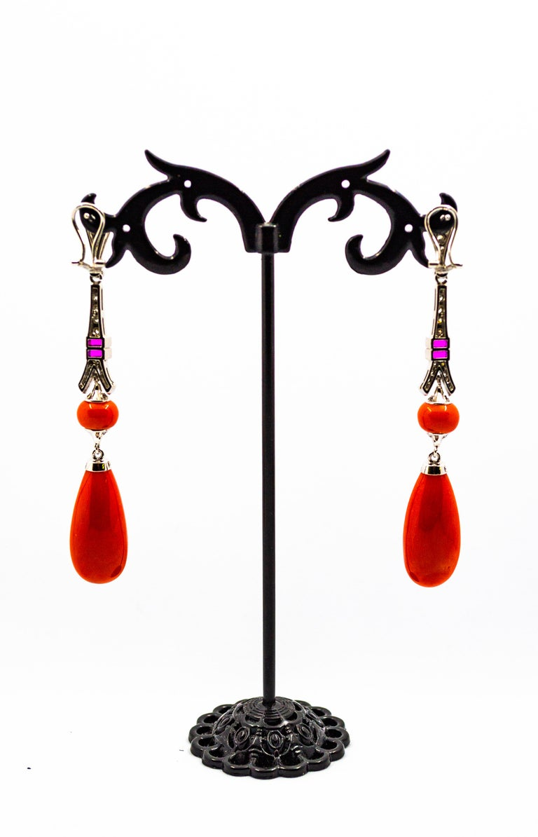 Mediterranean Red Coral White Diamond Amethyst White Gold Eiffel Tower Earrings In New Condition For Sale In Naples, IT