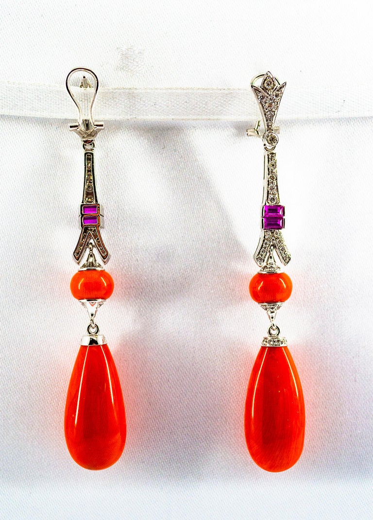 Mediterranean Red Coral White Diamond Amethyst White Gold Eiffel Tower Earrings For Sale 1