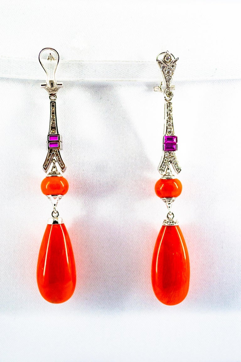 Mediterranean Red Coral White Diamond Amethyst White Gold Eiffel Tower Earrings For Sale 2