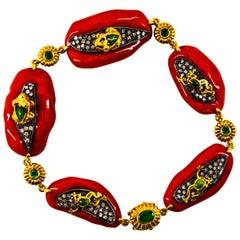 Mediterranean Red Coral White Diamond Emerald Enamel Yellow Gold Frogs Bracelet