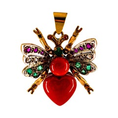 Mediterranean Red Coral White Diamond Ruby Emerald Yellow Gold Butterfly Pendant