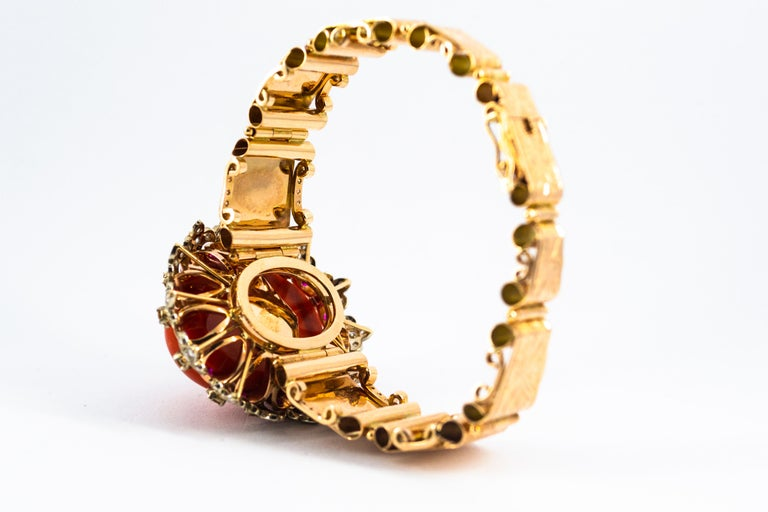 Mediterranean Red Coral White Diamond Ruby Yellow Sapphire Yellow Gold Bracelet For Sale 5