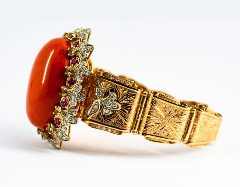 Mediterranean Red Coral White Diamond Ruby Yellow Sapphire Yellow Gold Bracelet For Sale 6