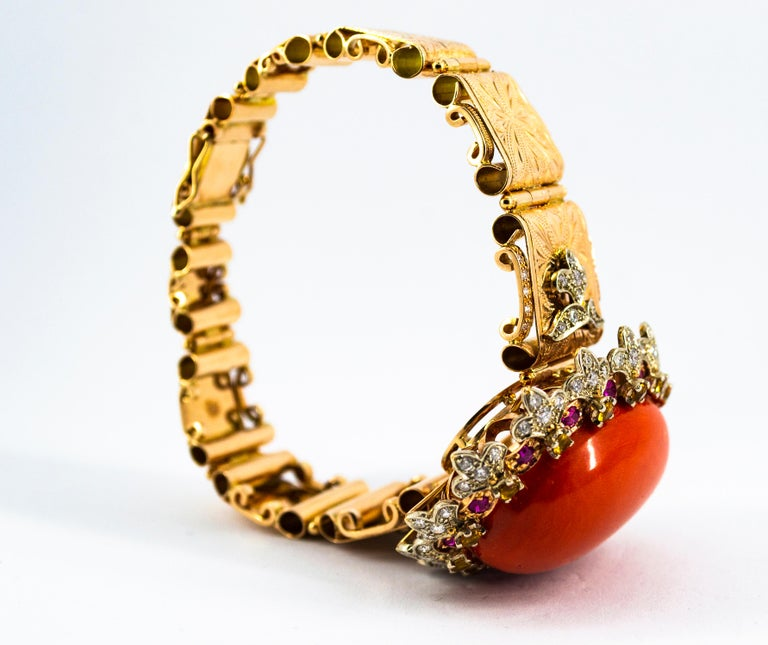 Mediterranean Red Coral White Diamond Ruby Yellow Sapphire Yellow Gold Bracelet For Sale 7