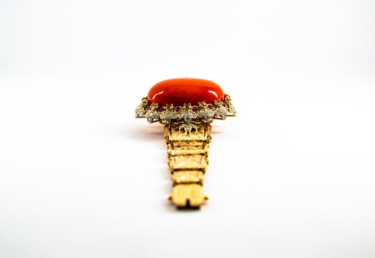 Mediterranean Red Coral White Diamond Ruby Yellow Sapphire Yellow Gold Bracelet In New Condition For Sale In Naples, IT
