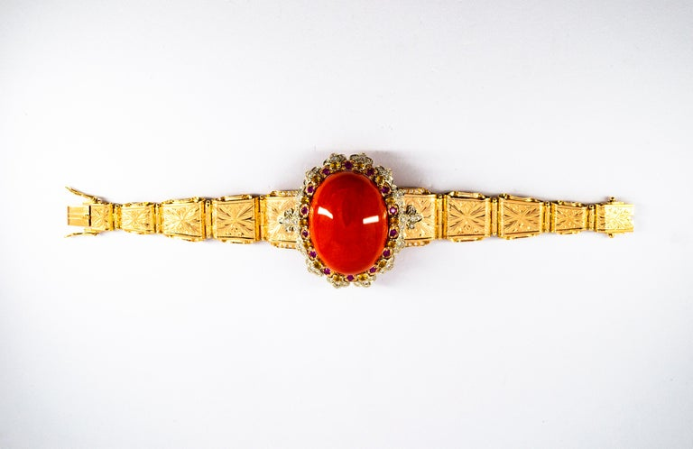 Mediterranean Red Coral White Diamond Ruby Yellow Sapphire Yellow Gold Bracelet For Sale 1