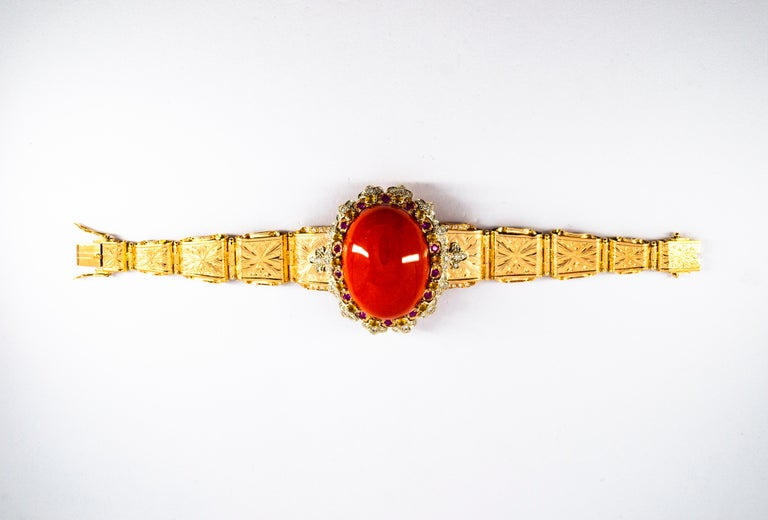 Mediterranean Red Coral White Diamond Ruby Yellow Sapphire Yellow Gold Bracelet For Sale 2