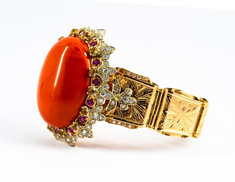 Mediterranean Red Coral White Diamond Ruby Yellow Sapphire Yellow Gold Bracelet For Sale 4