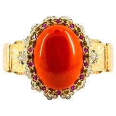 Mediterranean Red Coral White Diamond Ruby Yellow Sapphire Yellow Gold Bracelet