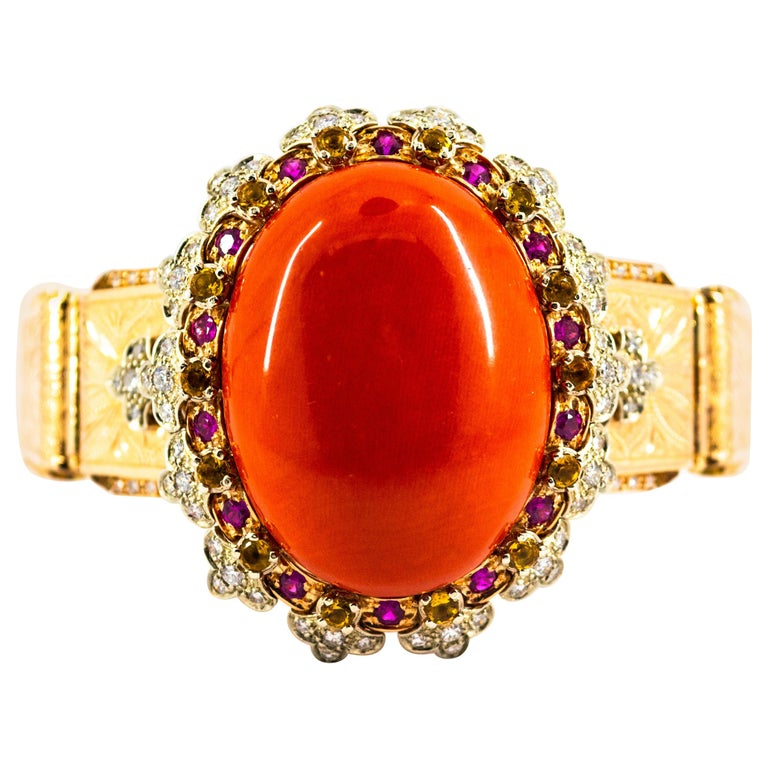 Mediterranean Red Coral White Diamond Ruby Yellow Sapphire Yellow Gold Bracelet For Sale