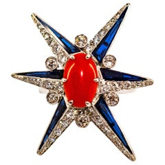 "Mediterranean Red Coral White Diamond Sapphire White Gold Cocktail ""Star"" Ring"