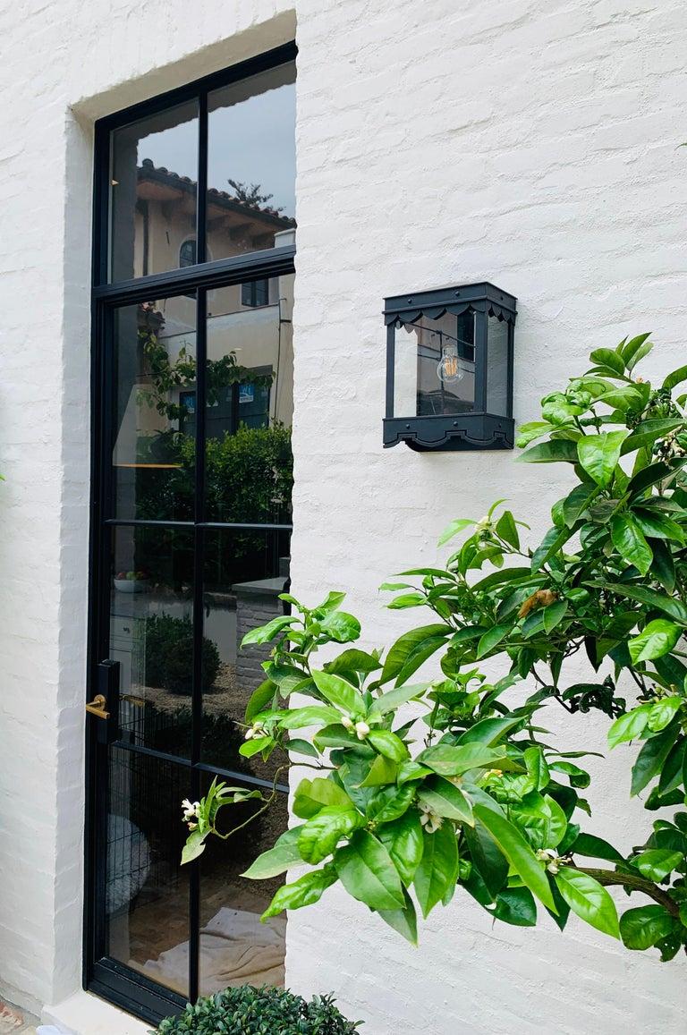 Hand-Painted Mediterranean Style Outdoor Lantern Flush Mount, Grey  For Sale