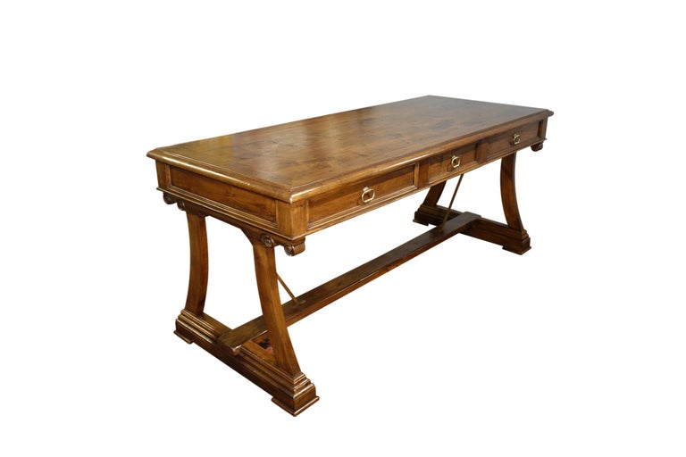 Our AMALFI  3-drawer Mediterranean style writing desk, simple sophisticated charm presented in fine Italian handcraft. Elegant yet casual. A stylized refectory table featured in solid aged premium Italian walnut and finished in traditional shellac